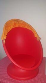 ikea lomsk kids red swival chair