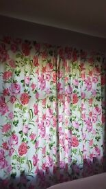 Hand Made Floral Curtains with contrasting Stripe Roman Blind and bed scatter cushions
