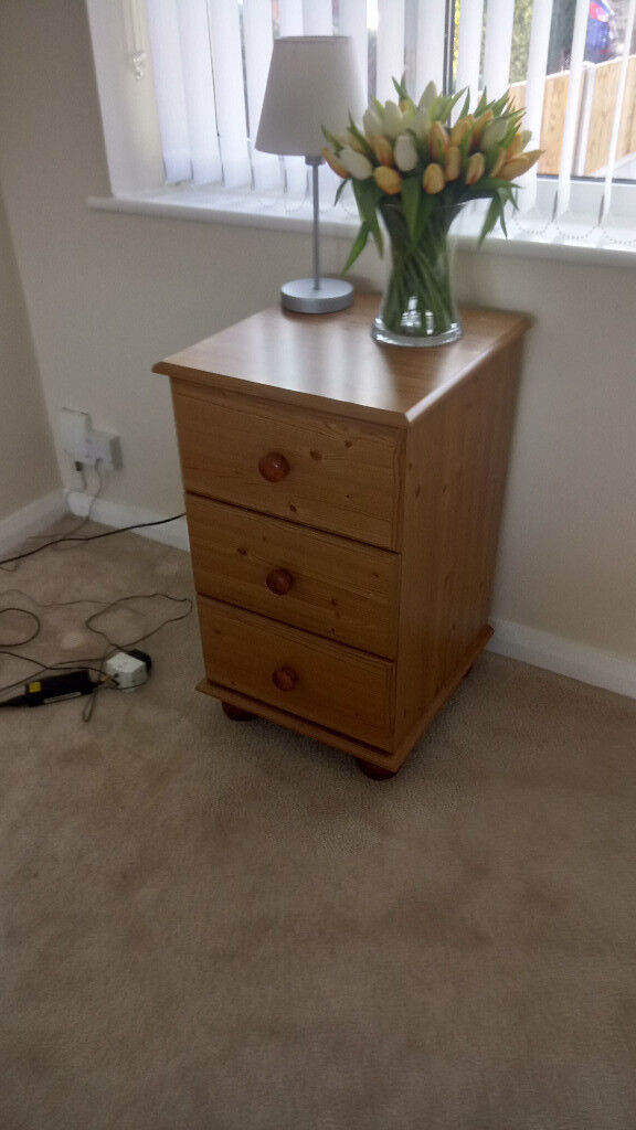Pine three drawer bedside or occasional cabinet