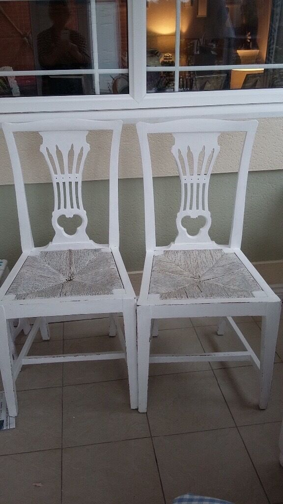 2 Retro painted dining chairs with rush seats in Emsworth