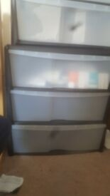 3 Drawer Plastic Wide Tower Storage Unit