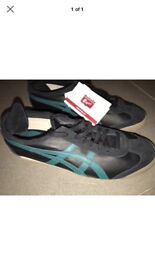 Onitsuka tiger black trainers leather UK 9.5 brand new. RRP £60