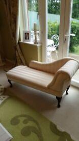 Cream Striped Chaise Lounge