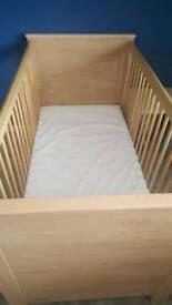 Oak Lexington range cot bed with spring memory foam mattress and duvet nd pillow