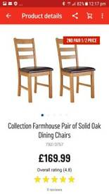 Farmhouse solid oak chairs