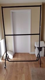Heavy duty, steel, black power coated double clothes rail.