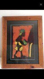 2 solid wood frames large with African fabric prints