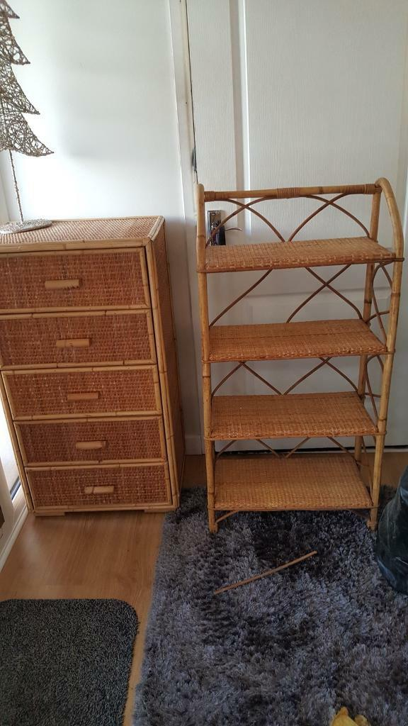 Cane and wicker chest of drawers and book