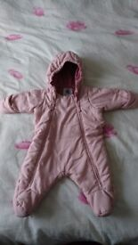 All in one baby snowsuit/ pramsuit, 0-3 months