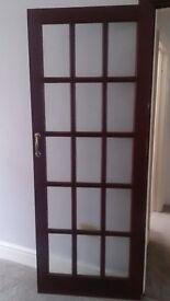 GLAZED 15 PANEL INTERNAL DOOR - DEEP MAHOGANY BROWN