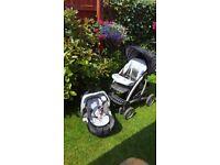 Mothercare travel system ( pram & newborn carrycot & car seat & car seat adaptor)