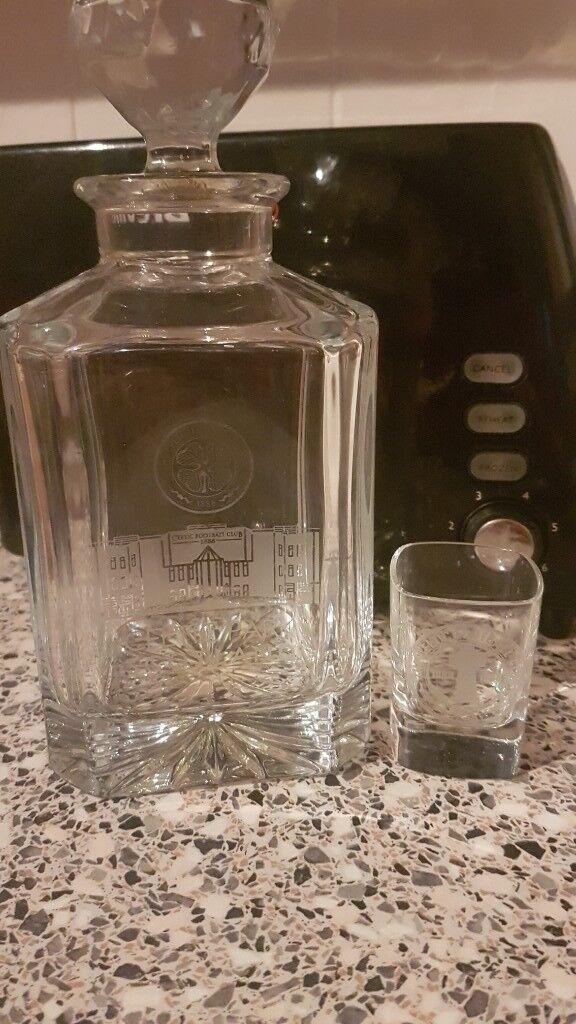 CELTIC GLASGOW High quality Glass decanter.