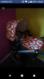 Cosatto orange 3 in 1 pram