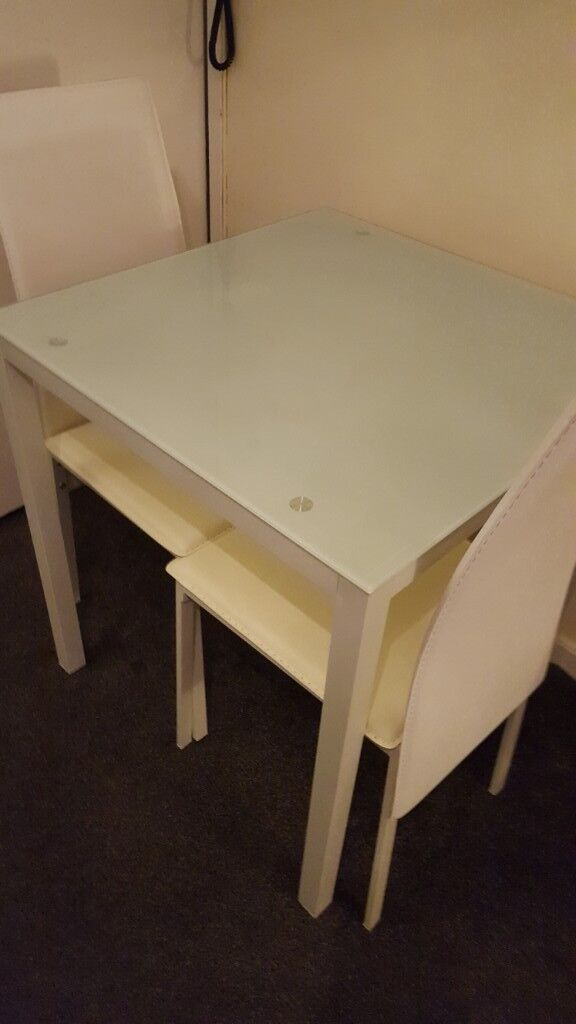 Astonishing Hygena Lido Glass Dining Table And 2 Faux White Leather Chairs In Liverpool Merseyside Gumtree Download Free Architecture Designs Scobabritishbridgeorg