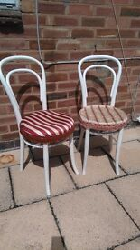 Vintage round backed solid wood dining chairs x2
