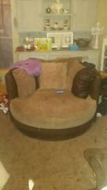 Large brown cuddle chair