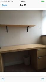 Solid wooden desk and matching shelf