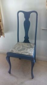 Vintage Lavender Painted Queen Anne Dining Chair