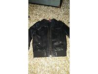 Leather Bomber jacket. Ladies size M black
