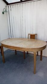 Dining room table (no chairs) 1970's approx with central extension panel.
