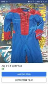 Spiderman costume age 5 to 6