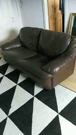Set of brown leather couches 2+3 steater