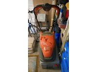 FLYMO LAWNMOWER WITH COLLECTION BOX AND GARDEN TOOLS