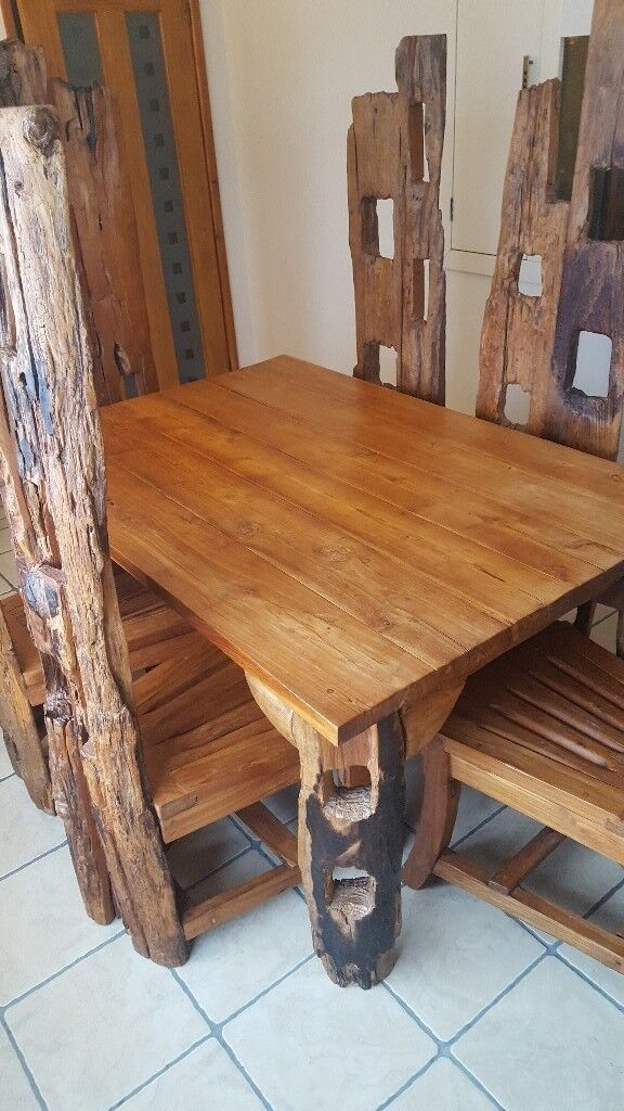Dining Table Chairs And Dresser Made From Reclaimed Railway Sleepers Carts
