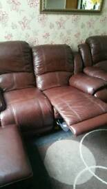 2 seaters recline Brown sofa(×2)