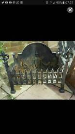 Cast iron coal and log basket