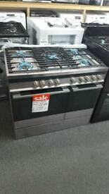 New graded Fisher and Paykel 90cm dual fuel range cooker with 12 months guarantee