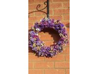 Dried statice flowers wreath.