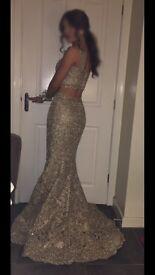 2017 Sherri Hill Two-Piece Gold Prom Dress.