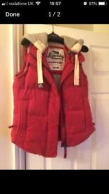 SMALL Women's genuine superdry gilet (red)