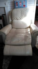 Cream leather reclining electric chair