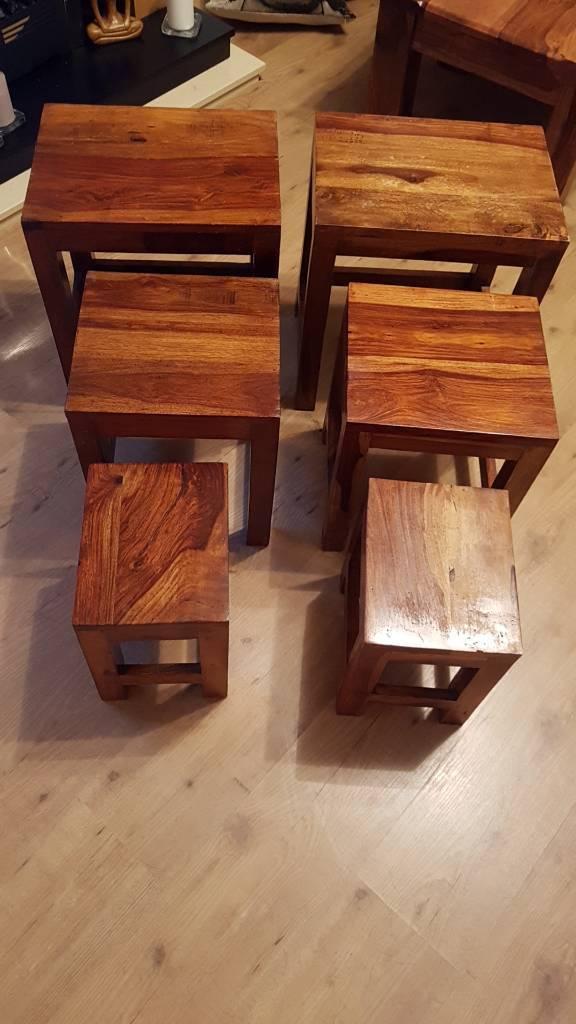 2 sets of three nest of sheesham tables