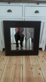 Brown Square Leather Mirror with Beige Stich Detailing - £15