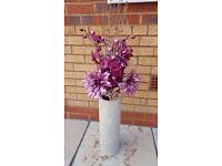 Purple twig flower and fairy light decoration ornament and vase