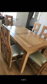 Oak furniture land table and chairs