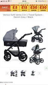 Venicci 3 in 1 travel system pram