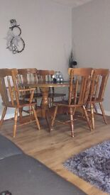 Solid wooden table & 6 chairs