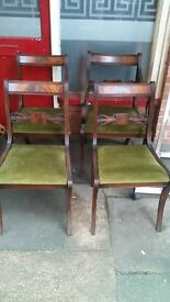Set of 4 dining chairs - green dark wood solid