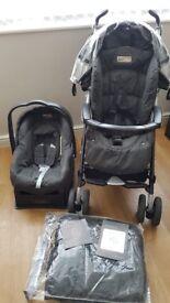 Mamas & Papas travel system, pram, car seat & base, cosytoes. From birth pushchair