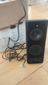 Black Logitech speakers