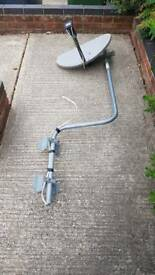 Swan neck aerial or satellite swan neck pole mast arm support and sky dish
