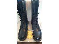 Dr. Martens Black 14 Eye Boots. Size 10