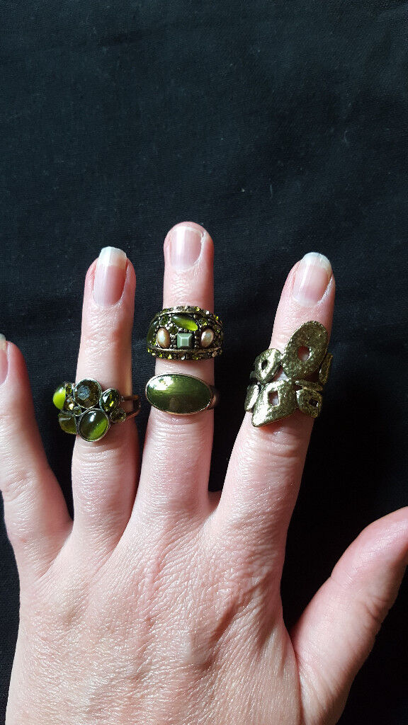Gorgeous gold and green stone ladies dress rings x4 by Monsoon. £3 for lot