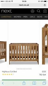 Cot bed and matching draws