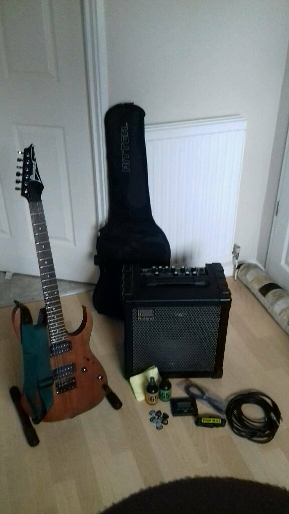 Ibanez RG-421 and Roland Cube 60 amp with extras