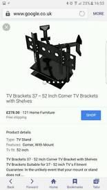 TV corner bracket with shelves
